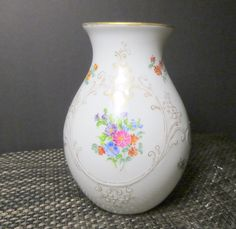 Vintage White Porcelain Floral Vase Bavaria West Germany Gerold Gold Art Nouveau by NewOxfordVintage on Etsy