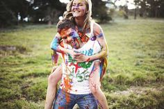 See more photos and read all about Carly & Jeff's Paint Fight engagement session in Brisbane on Poptastic Bride. Photos by Lakshal Perera.