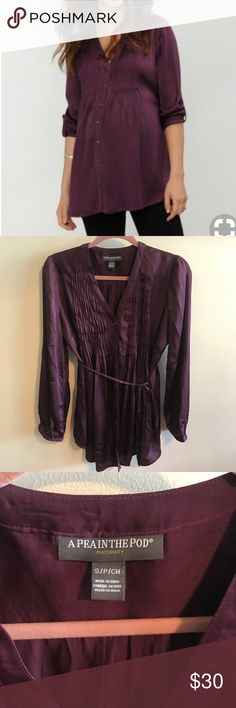 Purple Pleated Front Button Up Maternity Blouse From smoke/pet free home! Purple Pleated front button up Maternity blouse with convertible sleeves. Only wore a few times! A Pea in the Pod Tops Button Down Shirts