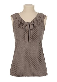 Dot Print Ruffle Neck Top - maurices.com