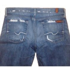 """7 for all Mankind Boot Cut Distressed Jeans 7 for all mankind distressed Bootcut stretch Jean (2% elastane). Mid rise 8"""", professionally hemmed to approx 32"""" inseam, 17.5"""" leg opening. No signs of wear, excellent condition! 7 for all Mankind Jeans Boot Cut"""