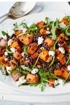 Sweet potato, lentil and feta salad This hearty salad is packed with roasted sweet potatoes, carrots and red onion, which pair wonderfully with Puy lentils and crumbled feta. Try this easy recipe for a healthy dinner or leisurely weekend lunch. Healthy Salad Recipes, Veggie Recipes, Cooking Recipes, Lunch Recipes, Puy Lentil Recipes, Cooking Tips, Meal Recipes, Shrimp Recipes, Healthy Salads For Dinner