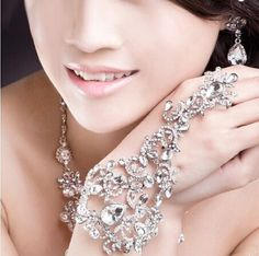 Luxury Rhinestone Floral Bridal Wrap Bracelets Wedding Jewelery Fashion Bling Marriage hand Accessories bracelets & bangles