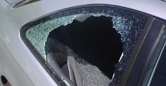 Car window damage may be covered by your insurance. Before you call your agent, you will need to remove the broken glass and make this temporary repair.