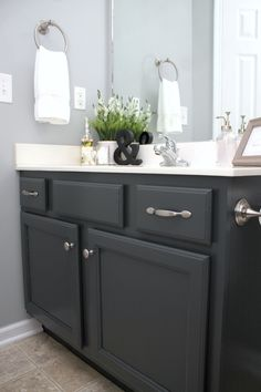 Painting Bathroom Cabinet easy way to paint your bathroom cabinets | painted bathroom