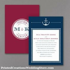 Set sail on your nautical wedding theme with these Anchors Aweigh wedding invitations.  Customize them with your colors choices.   www.PrintedCreationsWeddingStore.com   #nauticalweddinginvitations