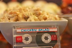Using an old Cassette Tape is a clever idea for Food Place Cards for you Party#80s