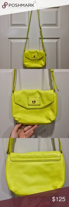 Marc neon leather cross body bag Purchased at Nordstrom and NEVER carried, brand new perfect condition. Neon yellow leather with gold hardware, magnetic closure. Price firm unless bundled, very precious to me. Marc By Marc Jacobs Bags Crossbody Bags