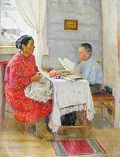 Подборка репродукций картин и открыток разных лет, созданных советскими художниками на тему школы