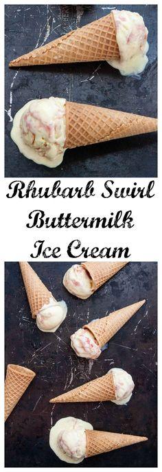 Rhubarb Swirl Buttermilk Ice Cream