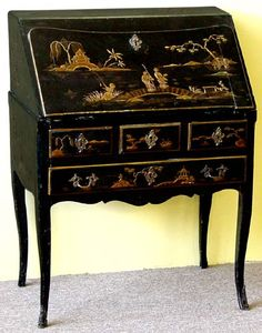 The period this image belongs to is Chinoiserie (18th - 19th century). The shape and hand painted Chinese scenes on this gorgeous furniture lead itself to 18th Century