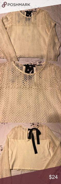 0c27b6eac2 Zara M open weave top Zara M Purchased in Italy Cream open weave top Knit  back Black bow in back Great to dress up or down Zara Tops Tees - Long  Sleeve