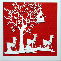 Die Cut Shapes of Grand Oak Tree with Woodland Fawn, Grass and Birds House