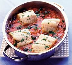 One-pot fish with black olives & tomatoes recipe - Recipes - BBC Good Food