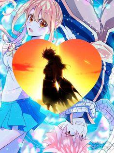Love this Natsu and Lucy pic Natsu Y Lucy, Fairy Tail Natsu And Lucy, Fairy Tail Ships, Fairy Tail Anime, Anime Couples Hugging, Manga, Spirit Magic, Hokusai, Fairy Tail Characters
