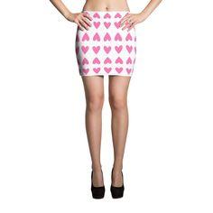 Pink Hearts Mini Skirts