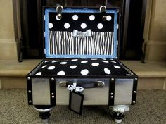 Unique dog or cat pet bed ... this time with a masculine theme! By artisan Lisa Christophe of Ladidahandbags on etsy whose work has been featured in Better, Homes & Gardens, etc. Repurposed vintage suitcase, an original, one-of-a-kind design. (Please beware of another falsely claiming to be the original maker of pet suitcase beds.)