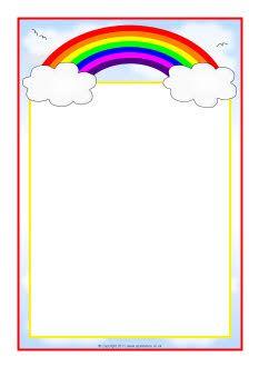 Arco-íris com temas A4 bordas da página (SB7475) - SparkleBox