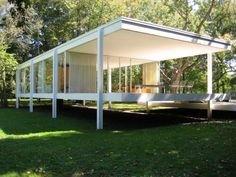 Farnsworth House - Exterior - Built: 1945-1951 The Farnsworth House built for Dr. Edith Farnsworth as a weekend retreat, is a platonic perfection of order gently placed in spontaneous nature in Plano, Illinois. Situated in a 10-acre secluded wooded site with the Fox River to the south, the glass pavilion takes full advantage of relating to its natural surroundings, achieving Mies' concept of a strong relationship between the house and nature. The single-story house consists of eight I-shaped…