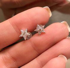 Star diamond ear studs Diamond Earrings Indian, Diamond Earing, Rose Gold Earrings, Kids Earrings, Small Earrings, Stud Earrings, Earring Studs, Ear Studs, The Bling Ring