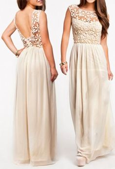 Pretty Ivory Maxi Dress with Flowers. Great rehearsal dinner dress for summer wedding