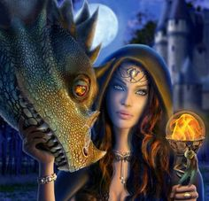 A sorceress and her dragon