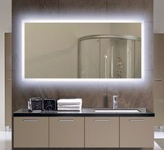 Bathroom Mirror Led the truly trimless appearance of recessed square leds allow for a