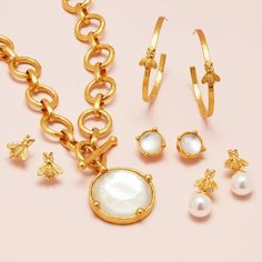 Bee Jewelry, Jewelry Shop, Fashion Jewelry, Pearl Drop Earrings, Hoop Earrings, Bee Necklace, Station Necklace, Pearl Pendant, Link Bracelets