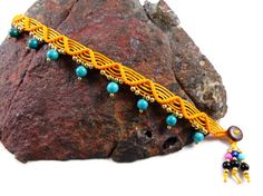 Thai Anklet Turquoise Sun Micro Macrame Yellow by ValaddaJewelry