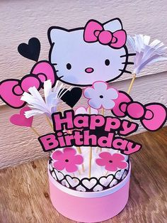 Hello Kitty Centerpiece Table Decor by PickledCherryPaper Bolo Da Hello Kitty, Hello Kitty Baby, Hello Kitty Themes, Hello Kitty Birthday Theme, Diy Birthday, First Birthday Parties, Birthday Ideas, Kitty Party, Hello Kitty Parties