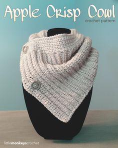Apple Crisp Crochet Cowl | Free Buttoned Crochet Cowl Pattern by Little Monkeys Crochet, littlemonkeyscrochet.com