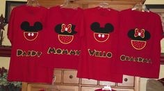 Mickey Minnie Mouse - Disney Birthday Family Custom T-Shirt Personalized Applique Head with Pants Tee Shirt Top. $17.00, via Etsy.