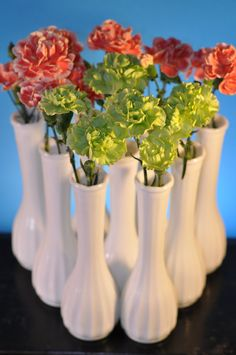 Vintage Milk Glass Wedding Vases -Lot of Nine - by Carr-Lowrey Glass Company - For Weddings, Bridal Showers, Baby Showers, Vintage Home Decor by ClassicCabin on etsy