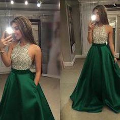 Beaded Halter Long Satin Open Back Prom Dresses 2018 - dark green / 8