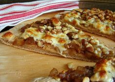 Gourmet Pear, Walnut & Gorgonzola Pizza from Food.com:   This recipe is adapted from eatingwell.com. This can be served as a lunch or dinner, or cut up in pieces and used as an appetizer.