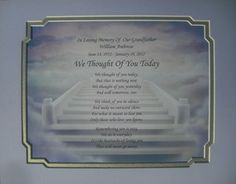 Loving Memories of Loved Ones | ... Today Memorial Poem in Loving Memory of Loved One Grandfather | eBay