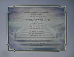 Loving Memories of Loved Ones   ... Today Memorial Poem in Loving Memory of Loved One Grandfather   eBay
