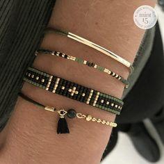 Two Sided Bracelet - Army Green Loom Bracelet Patterns, Bead Loom Bracelets, Woven Bracelets, Jewelry Bracelets, Tassel Bracelet, Jewelery, Bangles, Seed Bead Jewelry, Bead Jewellery
