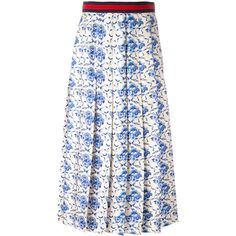 Gucci New Flora print skirt ($1,980) ❤ liked on Polyvore featuring skirts, gucci, white, midi skirts, patterned maxi skirt, white midi skirt, floral midi skirt and white maxi skirt