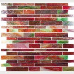 Red glass tile backsplash idea