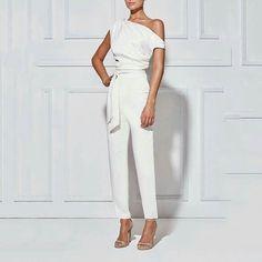 Women's Classy Commuting Sloping Shoulder Jumpsuit – redcocostar White Fashion, Look Fashion, Fashion Outfits, Womens Fashion, Fashion Deals, Fashion Brands, Jumpsuit Elegante, Outfit Zusammenstellen, Jumpsuit Outfit