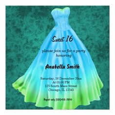 Long dress Sweet 16 (Turquoise) Announcements