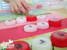 spelling caterpillar sight words with bottle caps                                                                                                                                                     More