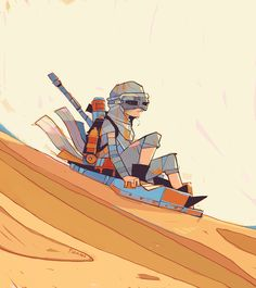 'Toboggan' ('Rey-a-Day' series) by Michael Firman Rey Star Wars, Star Wars Fan Art, Star Wars Drawings, Art Drawings, Illustrations, Illustration Art, Arte Nerd, Black And White Stars, Saga