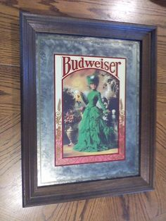 "Vtg Brytone Budweiser Beer Bar Mirror Sign Victorian Lady Green Dress 22"" x 17"""