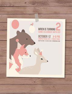 5X5 Children's birthday invitations features woodland animals on Etsy, $42.25