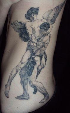 Jacob wrestling with the Angel (or God depending on interpretation.)  Genesis 32:24