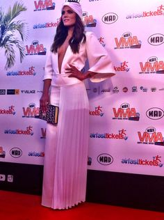 All eyes were on Mary Sinatsaki and her #total_white BSB outfit, when she walked on MAD VMA '14 red carpet. #madvma14 #BSB
