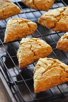 Pumpkin Scones with Maple and Molasses Glaze Recipe :: Minimalist Baker