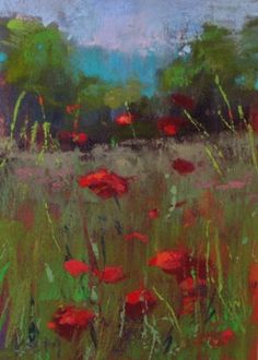 Mountain Poppies, pastel painting by Karen Margulis